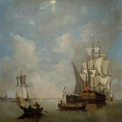 A Shipping Scene- Ship of the Line 1700-1749 by Peter Monamy