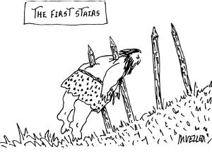 Four wooden stakes are sticking out of a hill in slightly ascending order … - New Yorker Cartoon by Peter Mueller