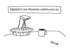 Surveillance camera sticking out of pie. - New Yorker Cartoon by Peter Mueller