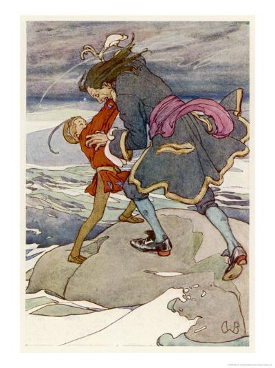 Peter Pan and Captain Hook Fight-Alice B^ Woodward-Giclee Print