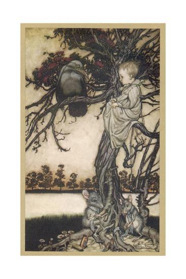Peter Pan and Solomon Caw-Arthur Rackham-Giclee Print