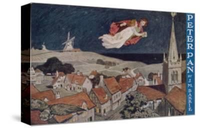 Peter Pan and Wendy Fly Over the Rooftops in a Poster to Advertise the Stage Show