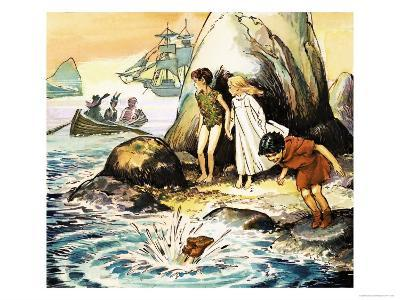 Peter Pan and Wendy-Nadir Quinto-Giclee Print