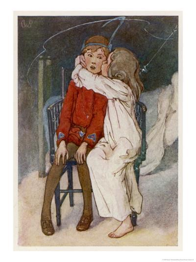 Peter Pan Being Kissed Gently on the Cheek by Wendy-Alice B^ Woodward-Giclee Print