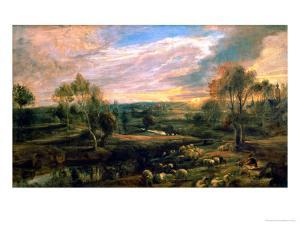 A Landscape with a Shepherd and His Flock, circa 1638 by Peter Paul Rubens