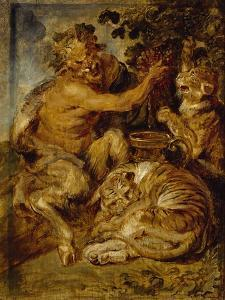 A Satyr Pressing Grapes with a Tiger and Leopard, C.1618 by Peter Paul Rubens