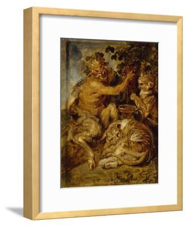 A Satyr Pressing Grapes with a Tiger and Leopard, C.1618