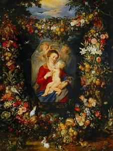 And Jan Brueghel: Mary Virgin and Child with Wreath of Flowers and Fruits by Peter Paul Rubens
