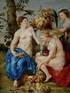 Ceres and Two Nymphs, Animals and Fruit by Snyders, Painted Between 1620-28 by Peter Paul Rubens
