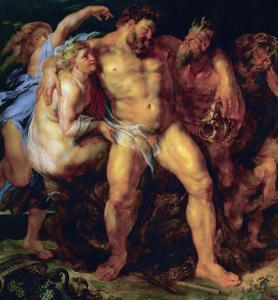 Hercules, Drunk, Led by a Nymph and a Satyr, circa 1612-14 by Peter Paul Rubens
