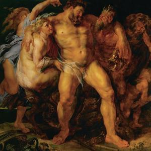 Hercules, drunk, led by a nymph and a satyr. by Peter Paul Rubens