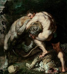 Hercules Fighting the Nemean Lion by Peter Paul Rubens