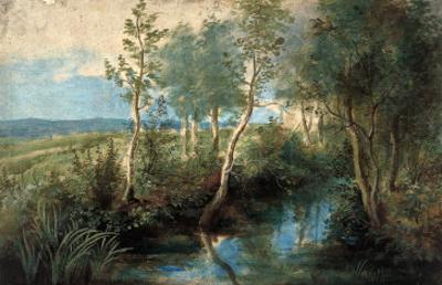 Landscape with Stream Overhung with Trees, 1637-1640