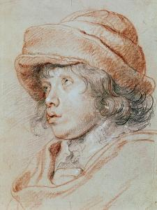 Portrait Study of His Son Nicolas, Chalk Drawing by Peter Paul Rubens