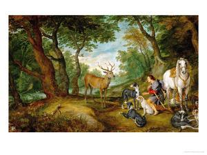 Rubens and Peter Brueghel the Younger: The Vision of Saint Hubertus by Peter Paul Rubens