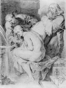 Susanna and the Elders, Drawn by Lucas Vorsterman, C.1620 (Chalk, Pen and Ink on Paper) by Peter Paul Rubens