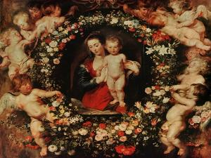 Virgin with a Garland of Flowers, circa 1618-20 by Peter Paul Rubens