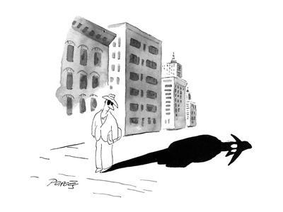 A man wearing dark glasses looks at his shadow on the sidewalk; it is blac? - New Yorker Cartoon