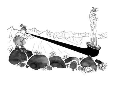 A shepherd in the mountains blows a sheep out of his alpenhorn. - New Yorker Cartoon