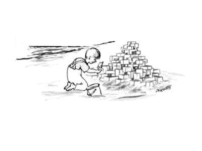 Child on beach is building Habitat '67 out of sand. - New Yorker Cartoon by Peter Porges