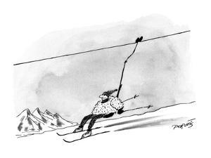 Man being propelled down a ski-slope on a ski-lift. - New Yorker Cartoon by Peter Porges