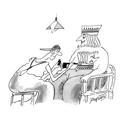 Tattoo artist tattoos the chest of a king with his upside-down profile so ? - New Yorker Cartoon