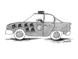 Taxicab with stamps for rundown bikers. - New Yorker Cartoon by Peter Porges