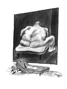 The patient on a couch being analyzed stares at a nude painting of a large? - New Yorker Cartoon by Peter Porges