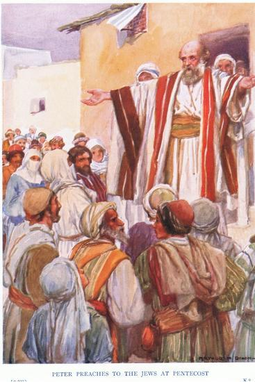 Peter Preaches to the Jews at Pentecost-Arthur C. Michael-Giclee Print