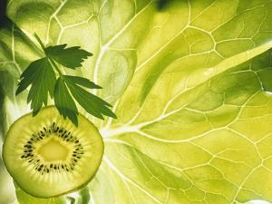 Kiwi Slice and Sprig of Parsley on a Lettuce Leaf by Peter Rees