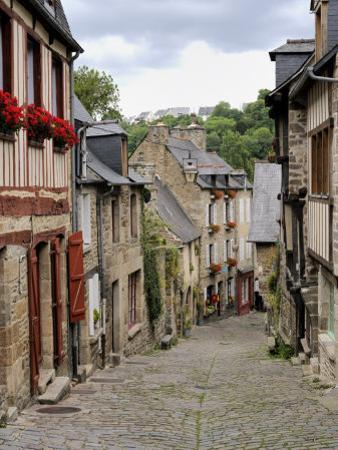 Ancient Cobbled Street and Houses, Rue Du Petit Fort, Dinan, Cotes-D'Armor, Brittany