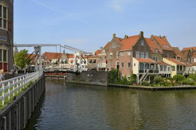 Bascule Bridge (Draw Bridge) and Houses in the Port of Enkhuizen, North Holland, Netherlands