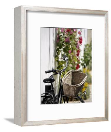 Bicycle with Basket and Hollyhocks, Ars-En-Re, Ile De Re, Charente-Maritime, France, Europe