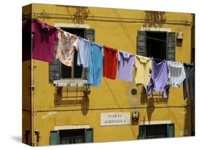 Clothes Hanging on a Washing Line Between Houses, Venice, Veneto, Italy, Europe