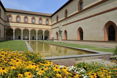Garden in the Ducal Courtyard, Sforzesco Castle (Castello Sforzesco), Milan, Lombardy, Italy