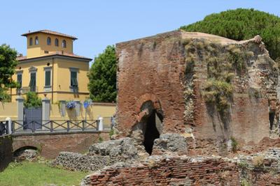 Ruins of Roman Terme Di Nerone Thermal Baths at Largo Parlascio Square, Tuscany (Toscana), Italy