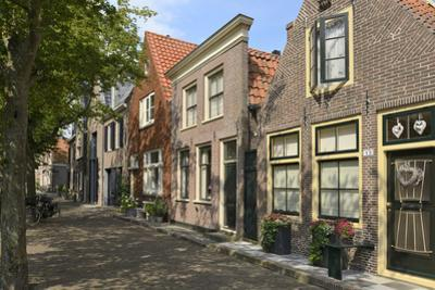 Street of Uniquely Individual Dutch Houses, Zuider Havendijk, Enkhuizen, North Holland, Netherlands