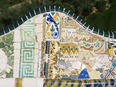 Gaudi's Mosaics, Guell Park, Barcelona, Catalonia, Spain by Peter Scholey