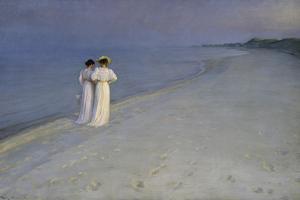Summer Evening at Skagen (Anna Ancher and Marie Kroyer on the Beach at Skagen), 1893 by Peter Severin Kroyer