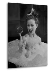 "Actress Jeanne Crain Taking Bubble Bath for Her Role in Movie ""Margie"" by Peter Stackpole"