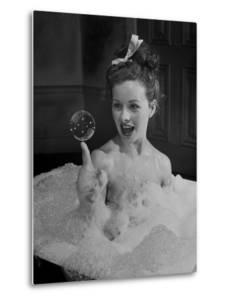"""Actress Jeanne Crain Taking Bubble Bath for Her Role in Movie """"Margie"""" by Peter Stackpole"""