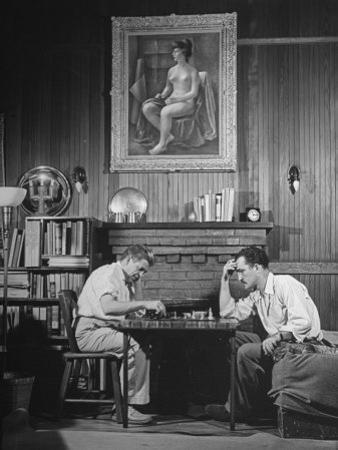 Artist Fletcher Martin, and a Friend Playing a Chess Game
