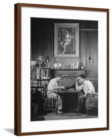Artist Fletcher Martin, and a Friend Playing a Chess Game