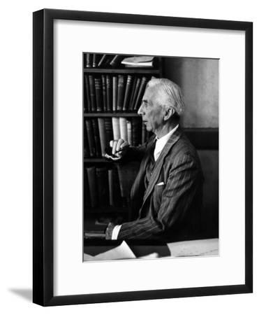 Bertrand Russell Sitting at His Desk at California University at Los Angeles