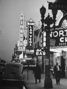 Brightly Lit Casinos Lining the Street by Peter Stackpole