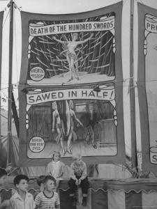 Children Sitting in Front of Banners for Magic Show Being Performed by Orson Welles by Peter Stackpole