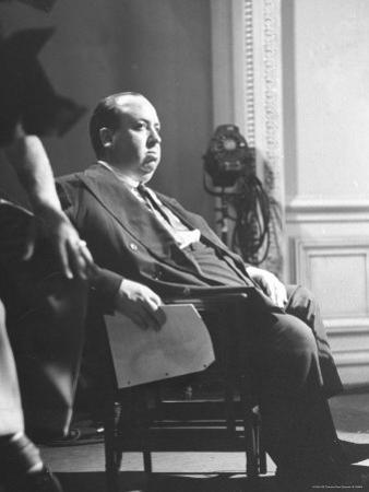 "Director Alfred Hitchcock Directing Scene in Movie ""Rebecca"" at Selznick International Studios"