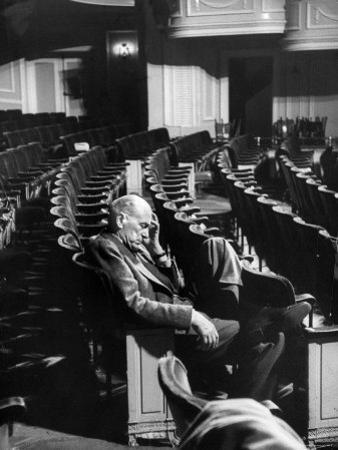 "Director George Abbott Directing the Musical, ""Damn Yankees."""