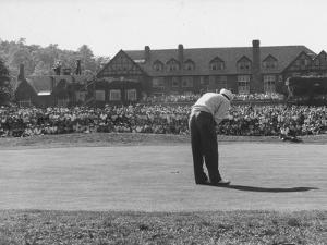 Ed Furgol, Sinking Final Put, and Wins the National Open Golf Tournament at Baltusrol Golf Club by Peter Stackpole