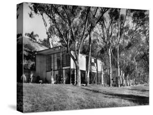 Exterior View of Charles Eames House, Showing How it Nudges into a Hillside by Peter Stackpole